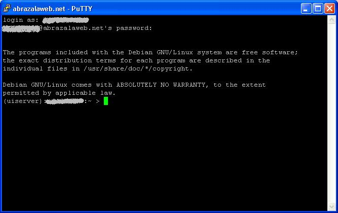 Putty: Conexión SSH Ok