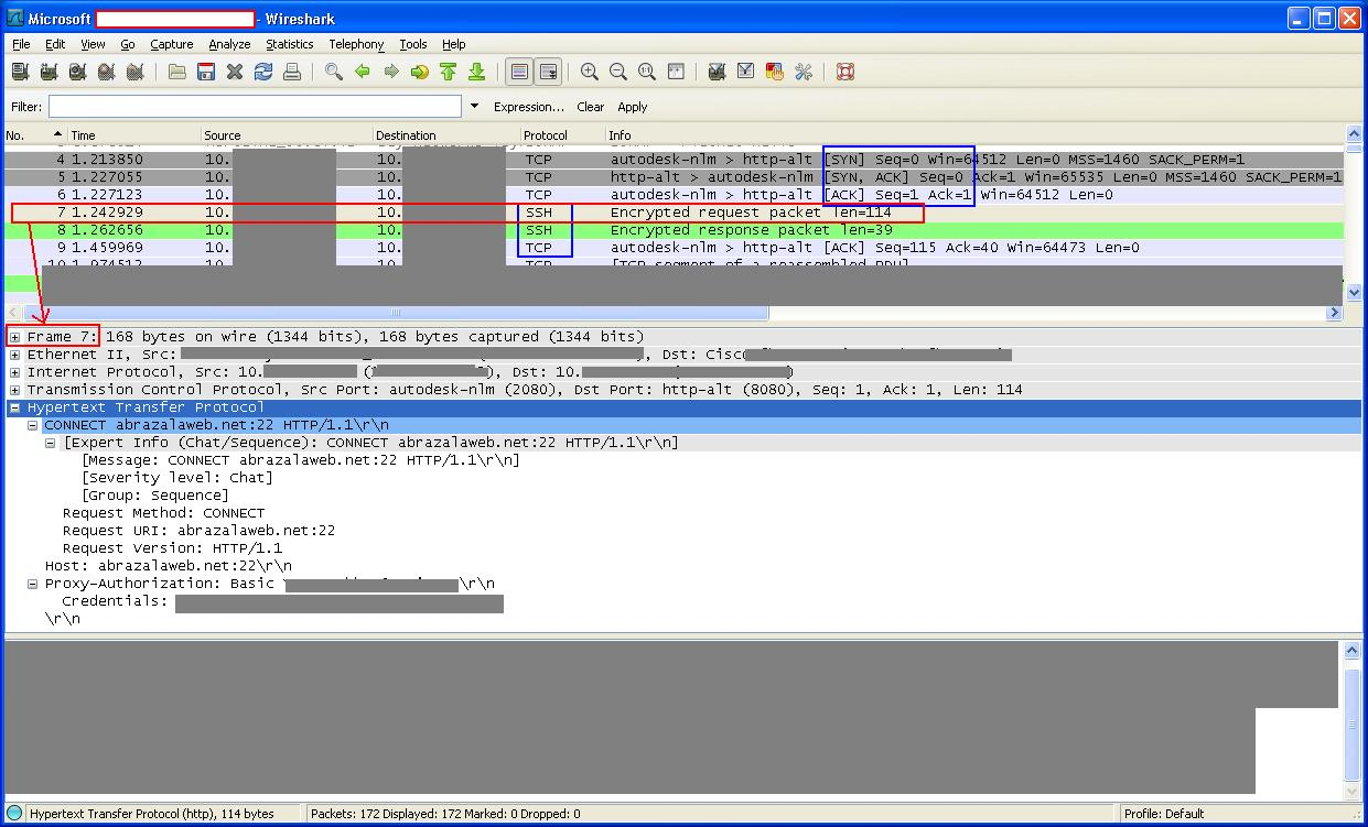 Wireshark: Captura de Paquetes de la conexión con Putty