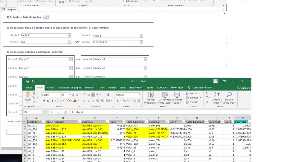 Comparar Tablas Excel con Access